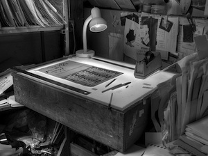 a printshop light-table